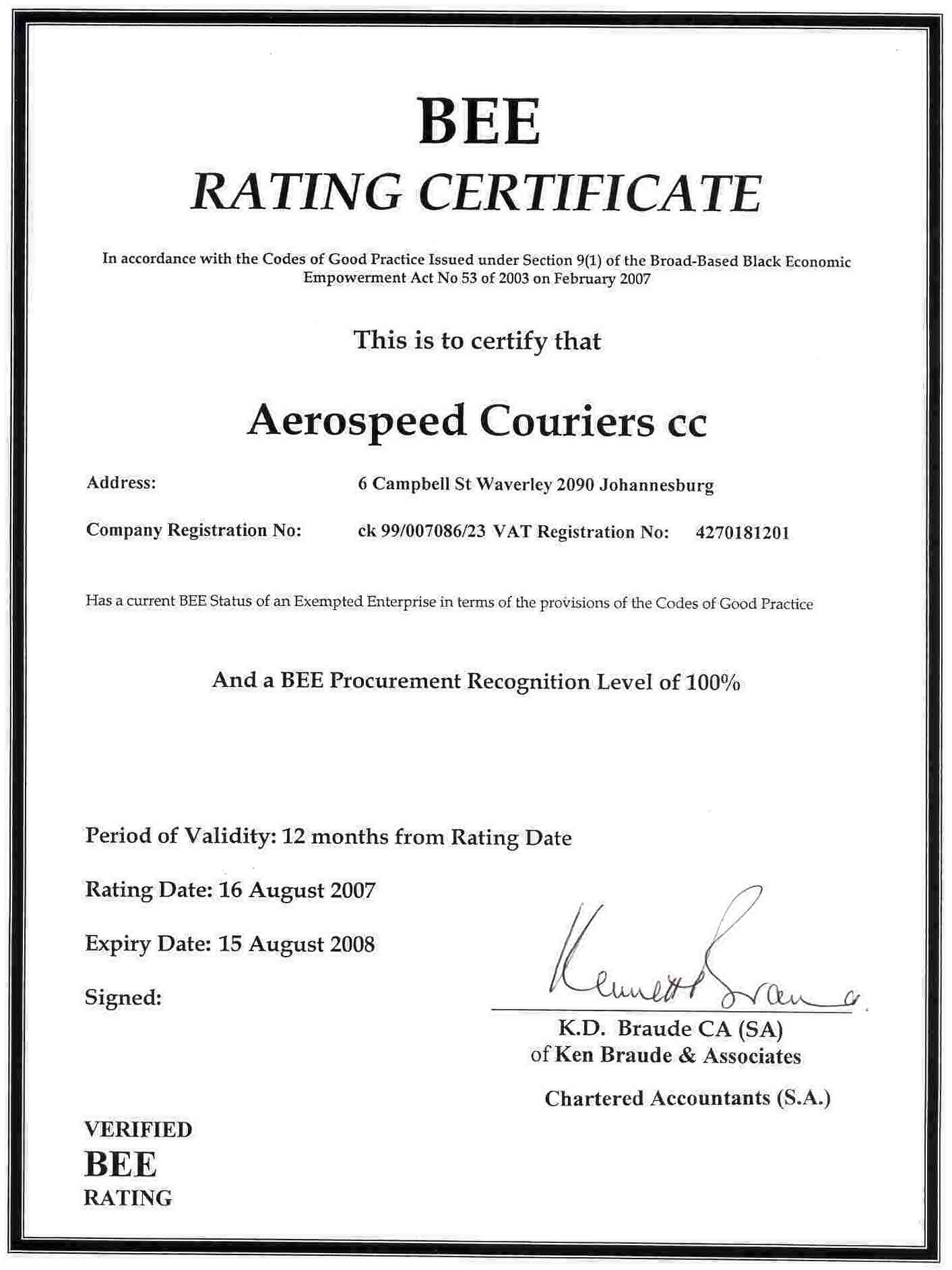 Bee certificate aerospeed couriers share this yadclub